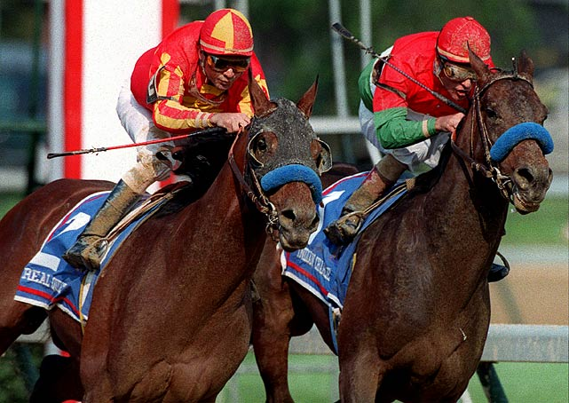 Indian Charlie (right) wasn't quite the lucky charm as the eventual Preakness winner and near Triple Crown victor Real Quiet took the Derby victory.