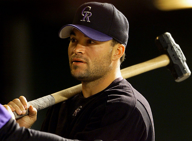 Hampton won five consecutive Silver Slugger Awards between 1999 and 2003, establishing a major-league record for pitchers. His peak offensive season came with the Rockies at hitter-friendly Coors Field in 2001, when Hampton slammed seven home runs and knocked in 16 runs while batting .291.