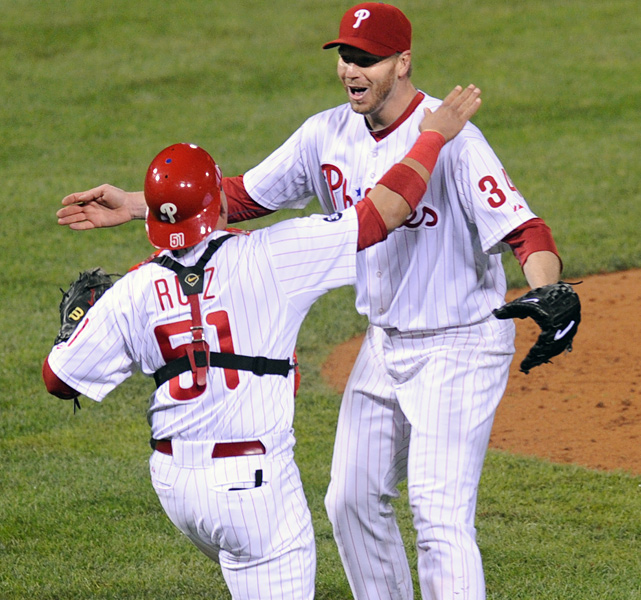Halladay threw just the second no-hitter in postseason history as the Phillies beat the Reds 4-0 in Game 1 of the NLDS. Halladay, who was making the first playoff start of his 12-year career, struck out eight and walked one on 104 pitches. He also threw a perfect game on May 29 vs. the Marlins, making him the fourth author of two no-hitter in the same season along with Nolan Ryan, Virgil Truck, Allie Reynolds and Johnny Vander Meer.