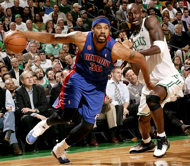 Rasheed Wallace (36) drives to the basket against Kevin Garnett during Game 1. Wallace finished with 11 points.