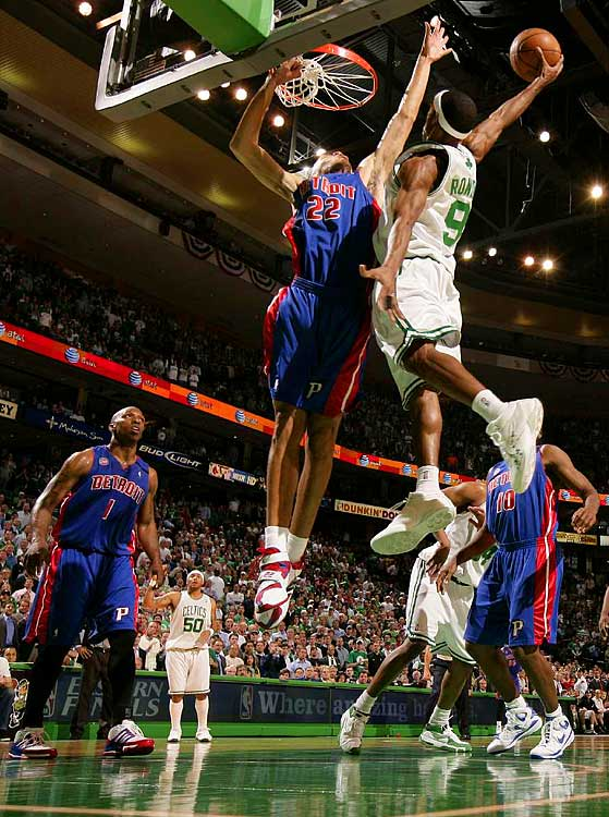 Rajon Rondo (9) shoots over Tayshaun Prince (22) during Game 1.  Rondo finished with 11 points.