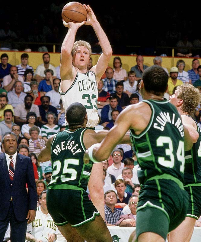 The defending champion Celtics took a 3-1 series lead over Milwaukee before coach Don Nelson's Bucks stormed back to knot the series. The Bucks even led for most of Game 7, but their late cold spell, combined with Larry Bird's 13 fourth-quarter points, gave the Celtics a 119-113 victory.
