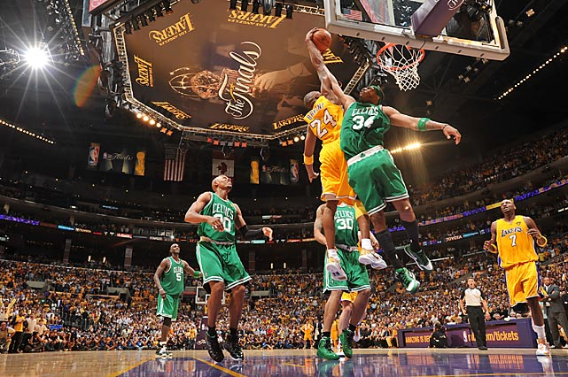 Injuries, fatigue and a poor night of shooting didn't stop Kobe Bryant from acquiring a second consecutive NBA championship and his fifth overall. Despite his unsightly 6-for-24 shooting, Bryant (23 points, 15 rebounds) led the Lakers to a gritty 83-79 Game 7 win over their storied rivals. The basketball certainly wasn't the best from either team -- the Lakers' shot 32.5 percent from the field and missed 12 free throws, while the Celtics committed 15 turnovers and were outrebounded, 53-40 -- but L.A. rallied from a 13-point second-half deficit for the title win. The Celtics entered the series having never lost a Game 7 in the Finals but left as just the seventh team in history to blow a 3-2 Finals lead after winning Game 5.