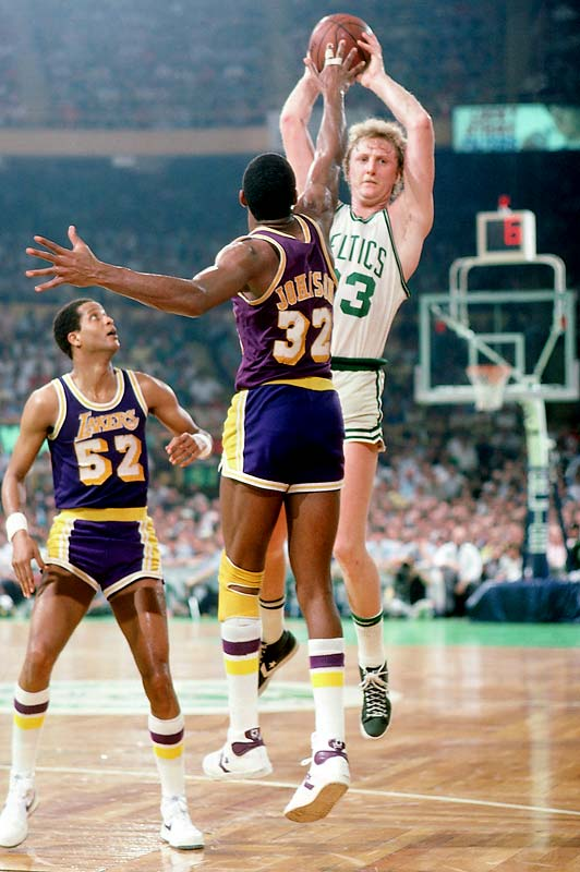 In the first Finals duel between Magic Johnson and Larry Bird (pictured earlier in the series), the Celtics survived the Lakers' late comeback to win the decisive game 111-102. Cedric Maxwell scored 24 points for Boston and Finals MVP Bird added 20 points and 12 rebounds.