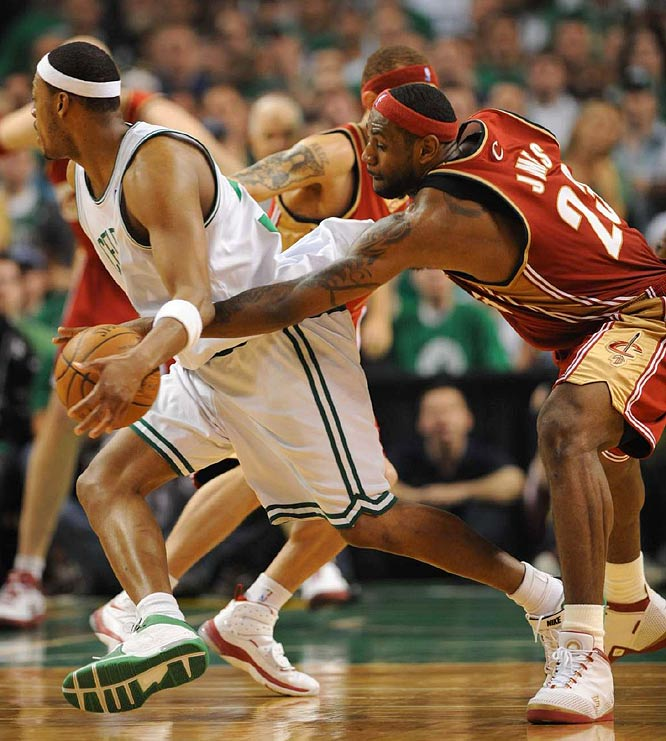 LeBron James of the Cavaliers picking the pocket of the Pierce. James broke free for a layup after the steal.