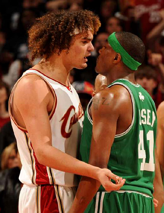 Cavs forward Anderson Varejao and Boston's James Posey exchange words during Game 3 in Cleveland.
