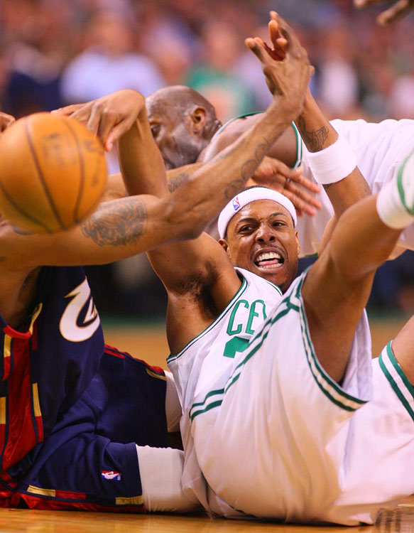 Paul Pierce -- who led the Celtics with 19 points -- dives for a loose ball in Boston's Game 2 win at TD Banknorth Garden.
