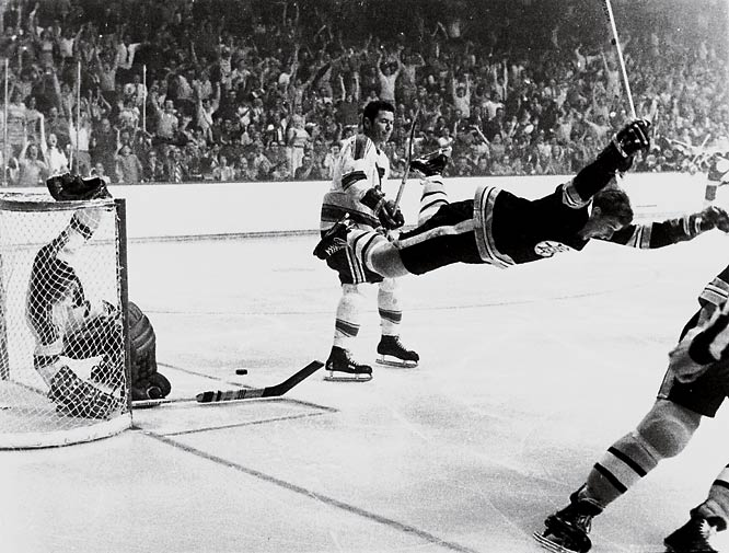 The legendary rushing defenseman who transformed the NHL won the first of his two Smythes while bringing Boston its first Cup in 29 years in dramatic fashion: his flying goal in overtime of Game 4 vs. St. Louis. It was the ninth tally and 20th point of Orr's postseason campaign. Two years later, he again scored the Cup-winner, in a six-game final vs. the Rangers while recording 24 points in 15 games.