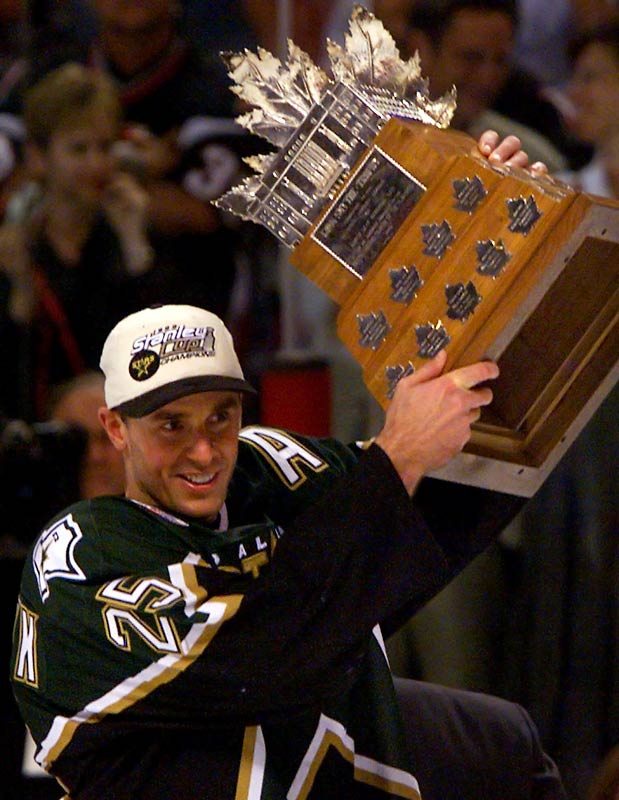 Brett Hull's controversial foot-in-the-crease OT goal won the Cup for Dallas in Game 6 of the final against Buffalo, but Nieuwendyk got the Stars there by scoring a league-leading 11 goals, and 21 points, in 23 postseason games against Oilers, Blues, Avalanche and Sabres.