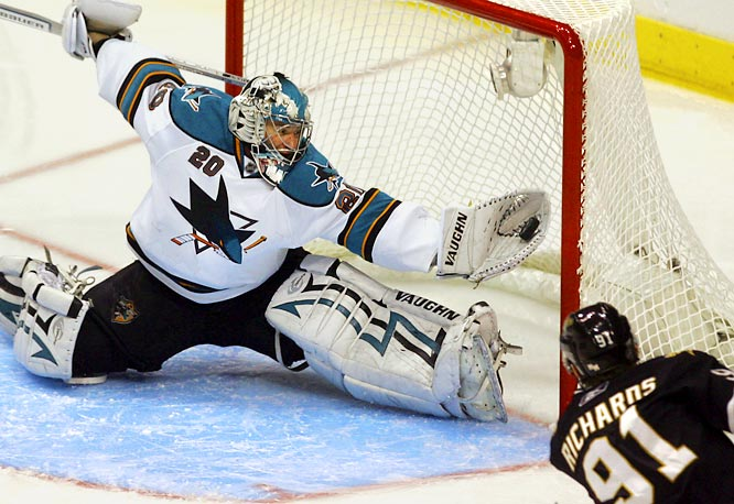 Sharks goaltender Evgeni Nabokov made what might have been the most amazing save of the postseason when he robbed Brad Richards on a point blank shot in the first overtime of Game 6. Nabokov gloved the puck just as it reached the goal line.