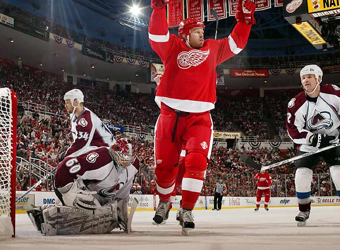 Center Johan Franzen emerged as Detroit's most potent weapon, scoring hat tricks in Games 1 and 4. By the end of the series, Franzen had nine goals, surpassing Gordie Howe's franchise mark for most tallies in one postseason series.