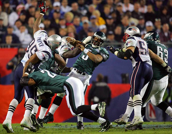 Only one quarterback -- Kurt Warner -- has ever thrown for more yards in a Super Bowl than Donovan McNabb, who had 357 yards against the Patriots. But McNabb's three interceptions sealed the fate of the NFC champions in a 24-21 thriller.