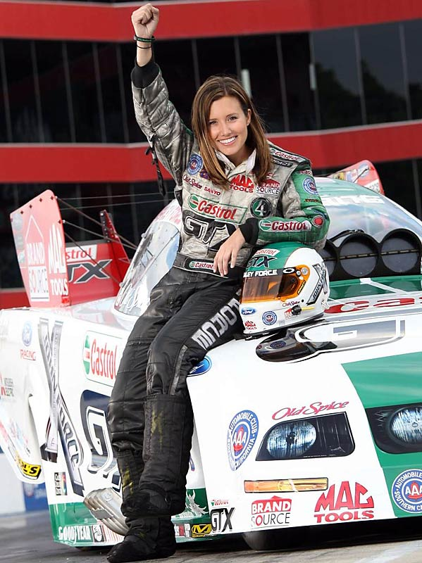 Driving against her father, John, in the finals of the April 27 Summit Southern Nationals at Atlanta, Ashley became the first female winner in NHRA Funny Car history.