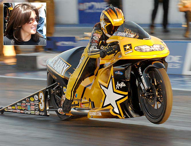 Since her debut in 1996, the pro stock motorcycle driver has earned 40 event victories, the most wins for any female in NHRA competition.  In 2002 she became the second driver -- male or female -- to win three consecutive NHRA Pro Stock Bike championships.  She ended the 2007 season in the top five -- the 11th time she's done that in 12 seasons, and broke one record.