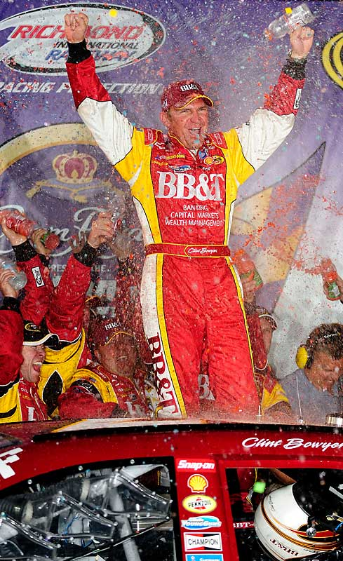With his first victory of the year, Clint Bowyer claimed his second Sprint Cup victory at the Dan Lowry 400 in Richmond on Saturday. Bowyer moved from the 31st spot in the race to first, beating both Dale Earnhardt Jr. and Denny Hamlin.