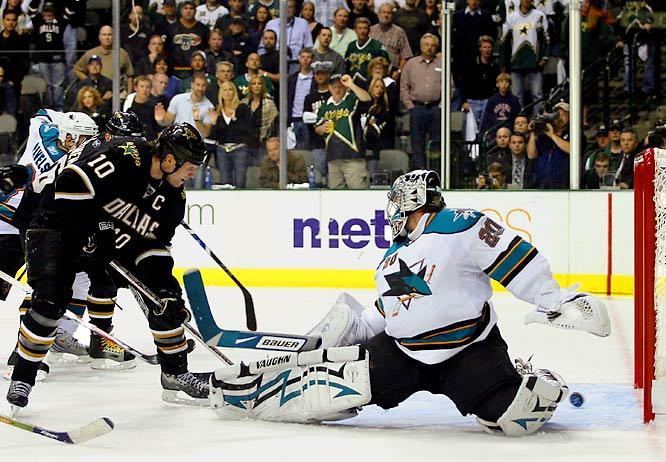 It took 5 hours, 14 minutes and four overtimes, but the Dallas Stars edged the San Jose Sharks to move on to the Western Conference Finals. Brendan Morrow knocked in the winning goal on a power play 9:03 into the fourth OT.
