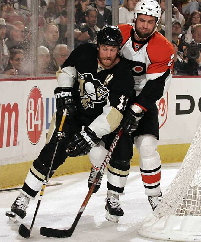 Ryan Malone scored twice and had a hand in a third goal as the Penguins routed Philadelphia 6-0 to win Game 5 and clinch the Eastern Conference finals.