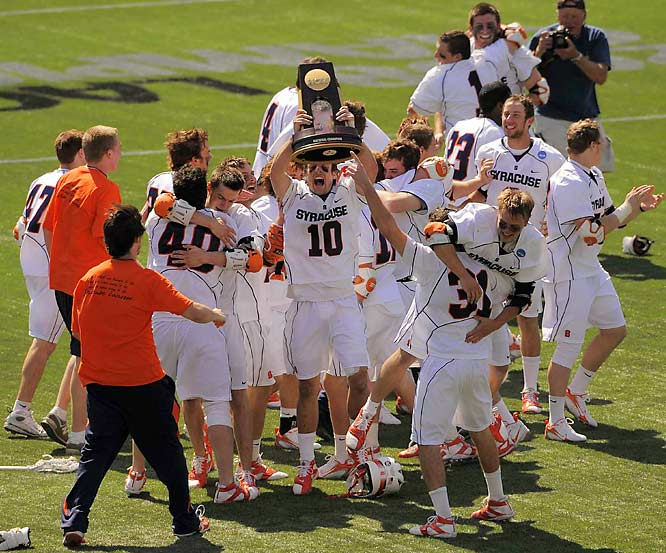 Syracuse claimed its record 10th national championship with a 13-10 victory over Johns Hopkins in Foxboro, Mass.