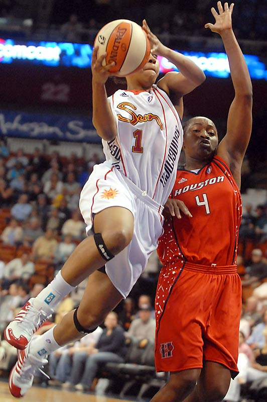 College Team:  Middle Tennessee State<br>College Stats:  27.3 ppg, 8.0 rpg, 3.2 apg<br>WNBA:  Ninth overall pick