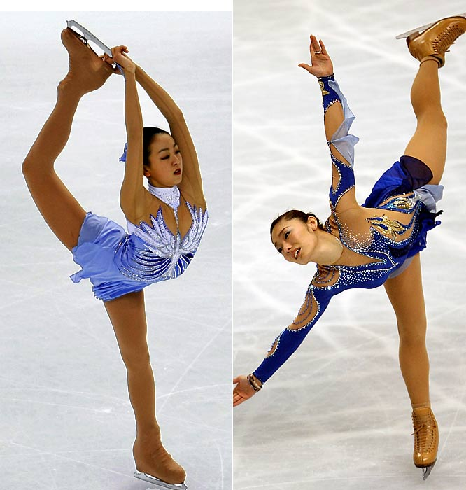 International women's skating has been taken over by the Ando and Asada show. The 17-year-old Asada (right) won the 2008 world championship, following in the footsteps of the 20-year-old Ando, who won the 2007 title by less than one point over Asada, the 2007 and 2008 Japanese champion.