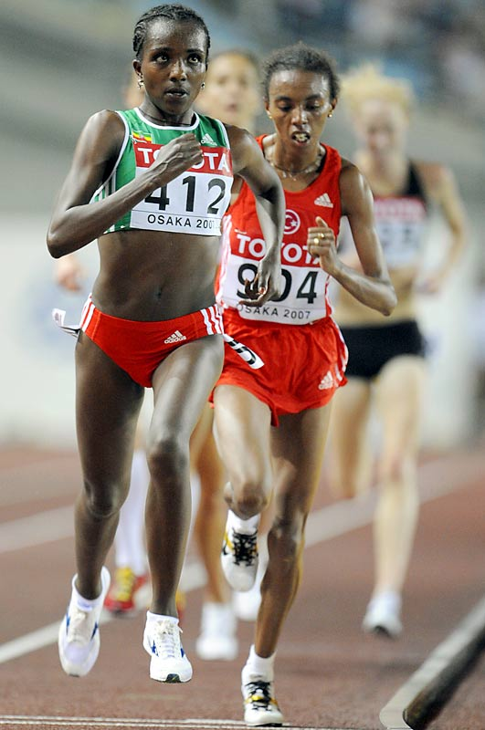 Last August, Dibaba won gold in the 10,000-meters at the world championships, becoming the only woman to win back-to-back 10,000 titles. At the worlds she fought off Turkey's Elven Abeylegesse in the last lap after nearly exiting the race due to a searing pain in her side.