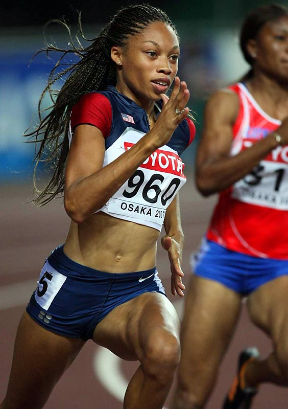 It is Felix's plan to attempt to win four gold medals at the 2008 Beijing Olympic Games by doubling in the 200- and 400-meter open races and the relays. At last summer's world championships, she won the 200 in 21.81 seconds, the fastest time in the world in eight years.