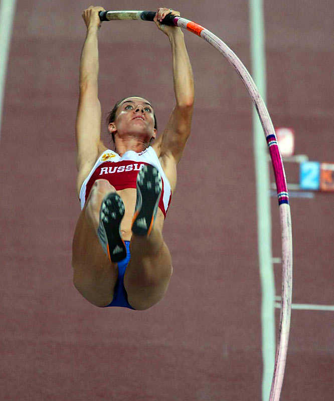 In '07 Isinbayeva, 25, won all 18 competitions she entered, and she has broken the indoor and outdoor records a total of 21 times; most recently the indoor mark, raising it to 4.95 meters (16-foot-2 4/10-inches) last February. No other woman has come within five inches of her '05 outdoor record of 5.01 meters (16-5 1/4).
