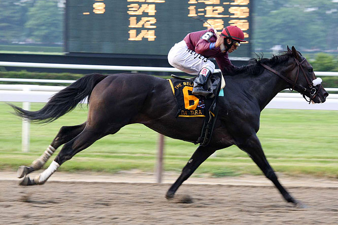 Da'Tara, a 38-1 longshot, won the 2008 Belmont Stakes by 5 1/4 lengths.