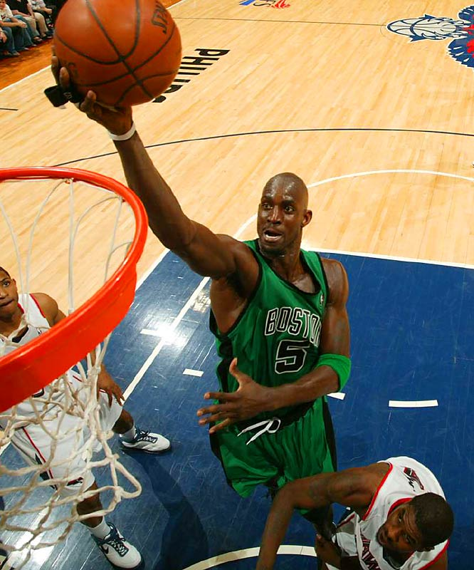 He is the all-around big man who can win games at both ends of the floor, the ultimate team player who leads the minute he walks into the locker room. He has that Russell-like quality of giving teammates confidence and bringing out the best in them. Garnett won the 2004 MVP and was selected as the Defensive Player of the Year this season.
