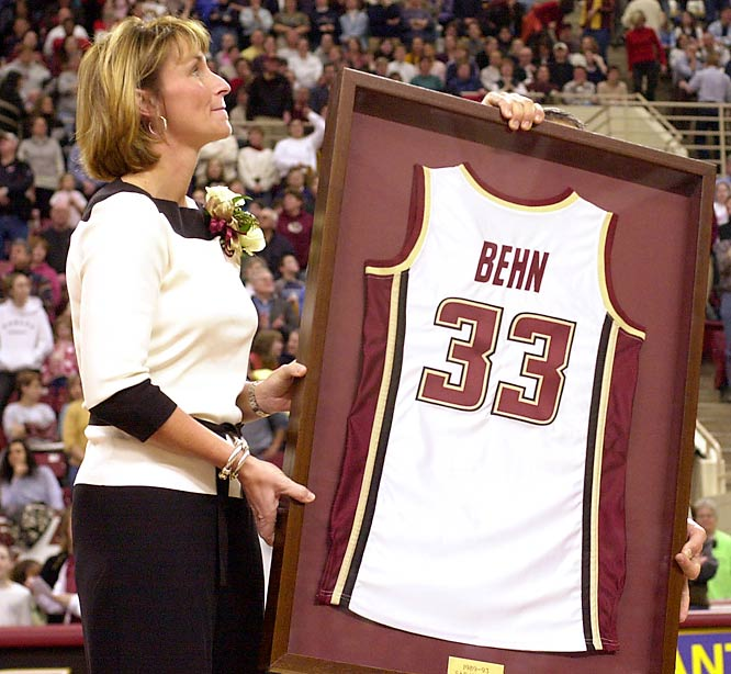 Twice an honorable mention All-America and first-team All-Big East, Behn holds the school record for most career points (2,523), along with the Big East career scoring record with 1,546 points in conference play. She is the only female athlete to have her jersey retired at BC.