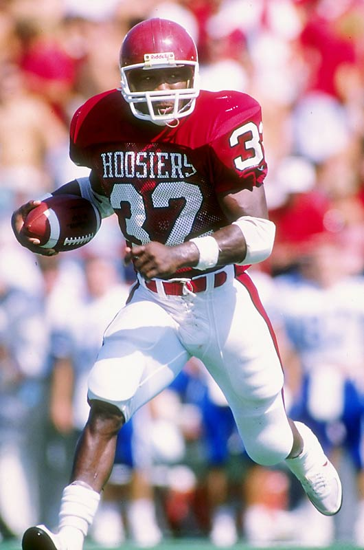 Thompson finished his career as one of the most dominant running backs in NCAA history and owns nearly every school rushing record. In 1989, he rushed for 377 yards in a game against Wisconsin and finished second that year in the Heisman Trophy voting. He finished his career with 5,299 rushing yards and 65 touchdowns, which was an NCAA Division I record until 1999.