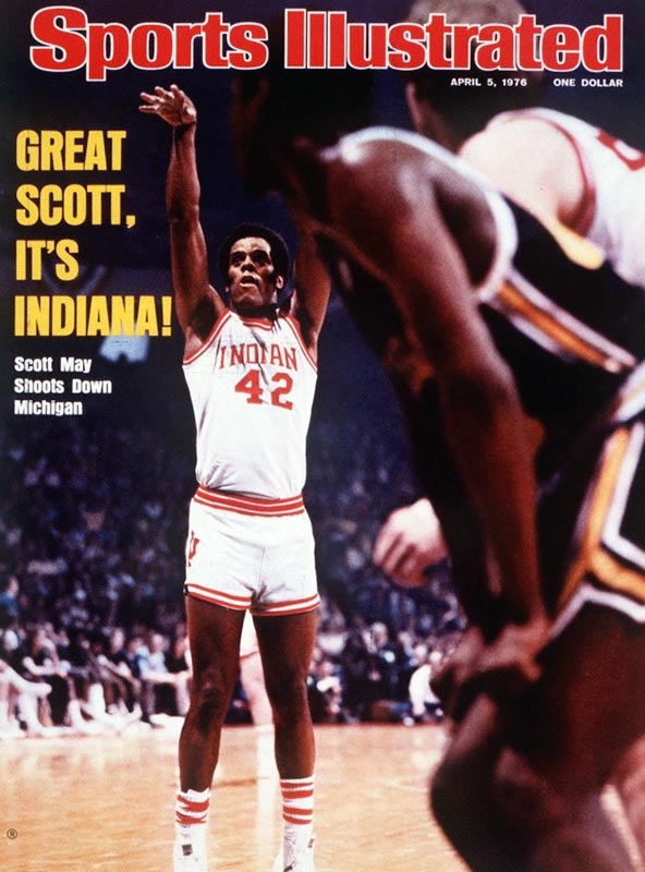 A rare combination of finesse and power, May scored 23.5 ppg on IU's 1976 undefeated championship team. That year, May was named the collegiate player of the year. In addition to being a two-time Big Ten Player of the Year recipient, May also set the record at Indiana for most points in a season.