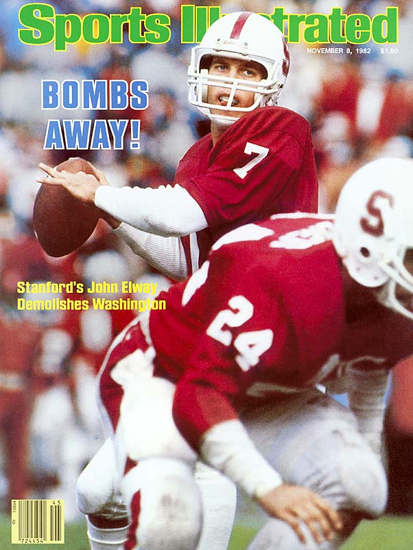 Drafted by the Kansas City Royals out of high school, John Elway turned down professional baseball to play baseball and football at Stanford, where he became an All-America quarterback who threw for a total of 9,349 yards and 77 touchdowns. He set NCAA Division I records for passing attempts, completions, and most games with at least 200 passing yards (30) and became the first pick in the 1983 NFL Draft. Also a talented baseball player, Elway was drafted by the Yankees after hitting .361 during his senior year. Spending his entire NFL career with the Denver Broncos, Elway was a nine-time Pro Bowler and two-time Super Bowl winner.