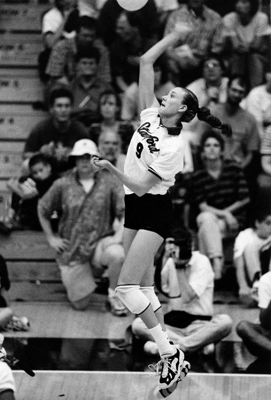 A four-year first-team All-America volleyball player, Kerri Walsh helped the Cardinal win the NCAA women's volleyball championship in 1996, when she was named Freshman of the Year and Final Four MVP, and another championship in 1997. As a senior she won co-National Player of the Year honors before becoming one of the most well-known faces in professional beach volleyball in the AVP.