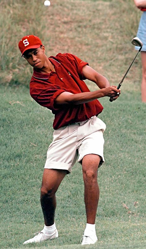 As a freshman, Tiger Woods defended his U.S. Amateur title and was voted Pac-10 Player of the Year and NCAA first team All-America. That same year he played in his first PGA major, tying for 41st at The Masters as the only amateur to make the cut. In 1996, Woods won the NCAA individual golf championship and became the first golfer to win three consecutive U.S. Amateur titles. After two years, he dropped out of Stanford and turned pro.