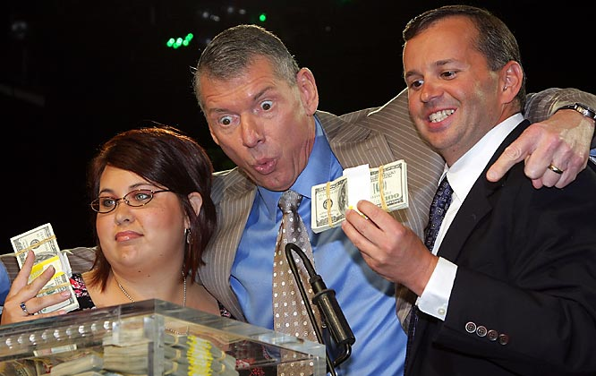 Vince McMahon can't believe he's resorted to giving away money to WWE fans. Two of last week's winners, Sarah Furhman and Steve Rosenzweig, picked up their cash at the Hard Rock Cafe in New York City on Thursday.
