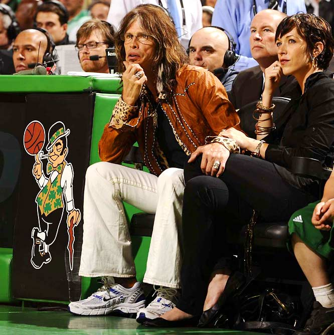 Aerosmith frontman Steven Tyler had a great seat to watch the Celtics dismantle the Lakers in Game 6 of the NBA Finals on Tuesday.