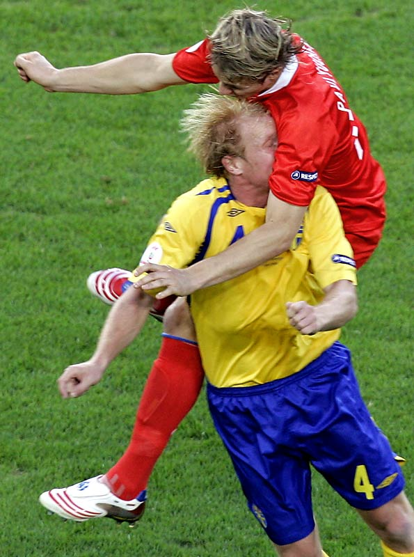 We hope for Sweden's Petter Hansson's sake that Russia's Roman Pavlyuchenko is wearing a really good deodorant.