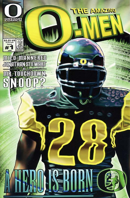 Back in 2005, Oregon coaches enlisted students to design custom comic books for the Ducks' top 20 recruiting targets. Each comic portrayed the recruit as a hero who leads the Ducks to a national title. Oregon sent each prospect one page per week during the recruiting period. Here is the entire comic made for running back Jonathan Stewart, one of the nation's top recruits at the time.