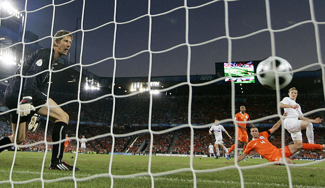 Pavlyuchenko turned in one of the transcendent performances of Euro 2008 against the Netherlands, running his markers ragged and keeping Dutch goalkeeper Edwin van der Sar on his toes with a number of dangerous challenges. The 26-year-old striker opened the scoring with his third goal of the tournament, a booming left-footed volley in the 56th minute off a flawless Arshavin feed.