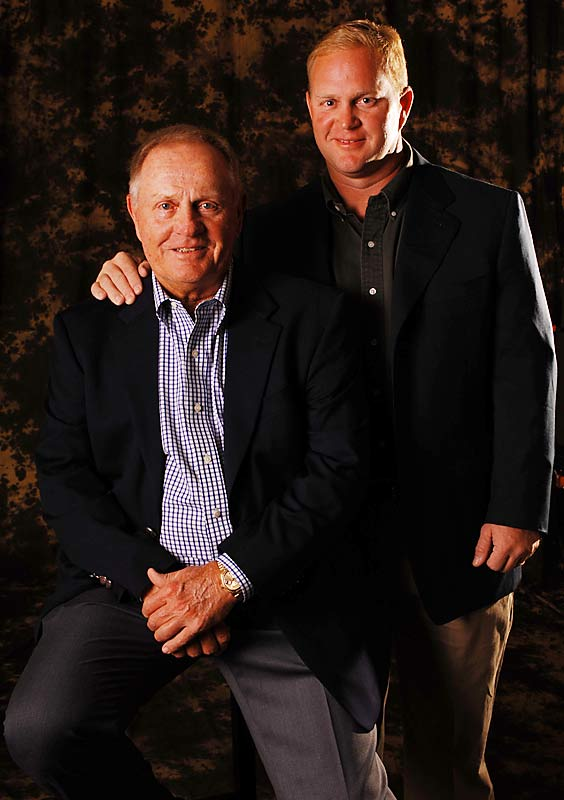 Arguably the best golfer to date, Jack Nicklaus poses with his son Jack, who followed in his father's footsteps as a PGA player and now golf-course designer.