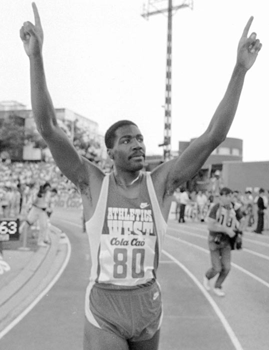Danny Harris beat the seemingly unstoppable Edwin Moses, ending Moses' streak of 122-consecutive hurdle event wins.