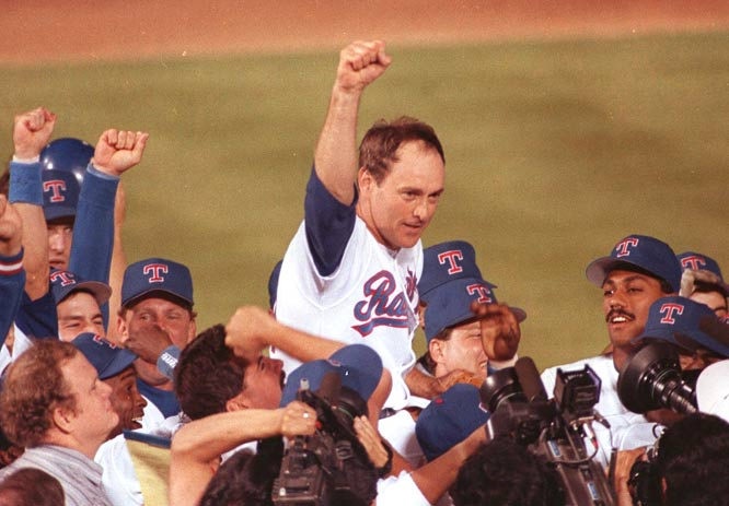 Nolan Ryan, 43, becomes the oldest pitcher to throw a no-hitter as the Rangers record a 5-0 victory over the A's.