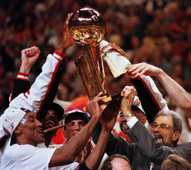 The Chicago Bulls beat the Seattle Supersonic in six games to capture their fourth championship. Michael Jordan is named Finals MVP for a record fourth time.