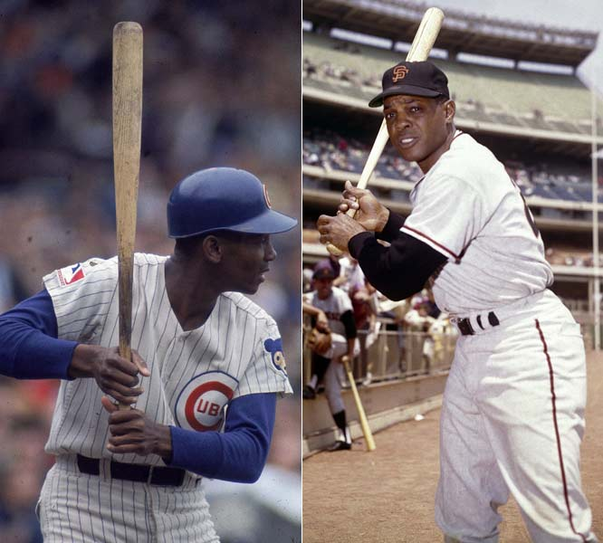 Ernie Banks (504) and Willie Mays (615) both homer, marking the first time two big leaguers with 500 home runs went deep in the same game.