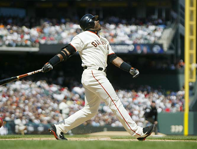 San Francisco's Barry Bonds becomes the first player to reach 500 home runs and 500 stolen bases.