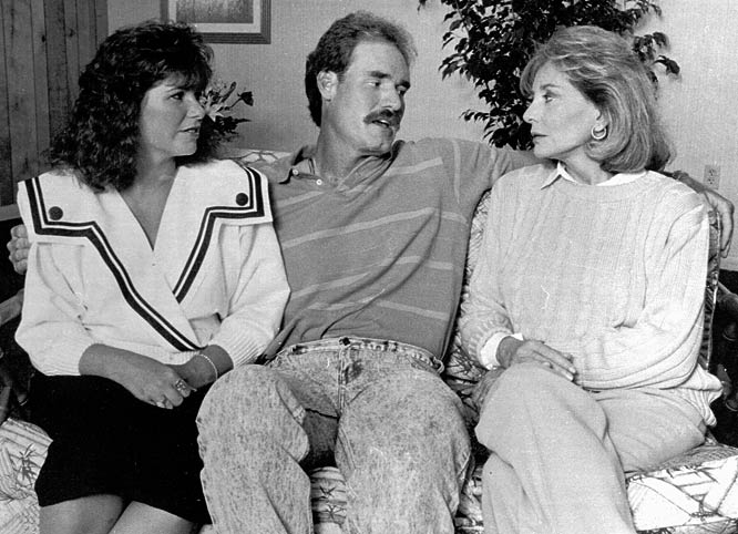 Red Sox 3B Wade Boggs (pictured here with wife, Debbie, and Barbara Walters) is sued by Margo Adams for palimony. Adams claims the two had a four-year affair.
