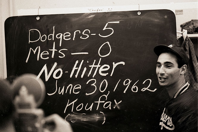 At Dodger Stadium, Sandy Koufax no-hits the Mets, 5-0. It will be the first of four career no-hitters thrown by the southpaw from Brooklyn.