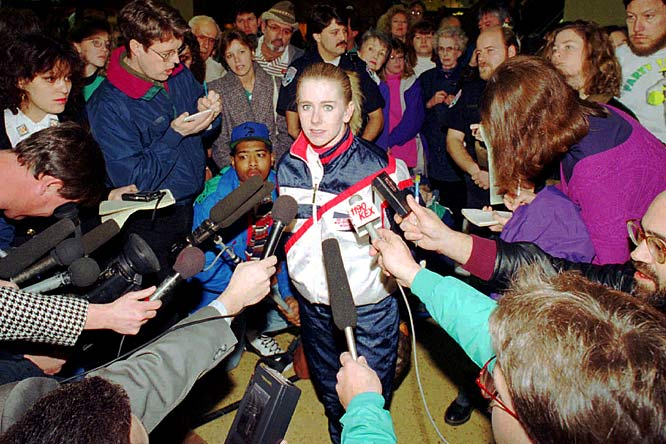 U.S. Ice Skating Federation bans Tonya Harding for life after her ex-husband, Jeff Gillooly, attacked competitor Nancy Kerrigan at a practice session during the 1994 U.S. Figure Skating Championships.
