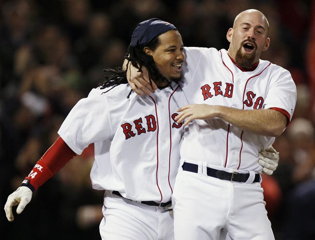 In a televised game at Fenway Park against the Rays, NESN cameras catch Manny Ramirez and Kevin Youkilis fighting in the dugout. The altercation between the Red Sox teammates is a result of Manny's taking exception to Youkilis's demonstrative behavior after the third baseman returns to the bench after striking out.
